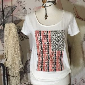 Lucky Brand Stud Stars on Crochet American Flag T